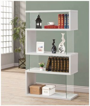 Asymmetrical White Finish Bookcase Display Cabinet for Sale in Temecula, CA