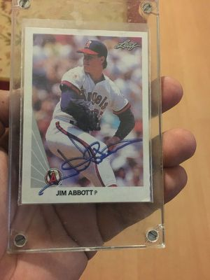 Jim Abbott 1990 Signed Baseball card make me a offer for Sale in Dallas, TX