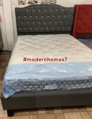 grey queen diamond tufted bed frame $189 full size $175 for Sale in Rancho Cucamonga, CA