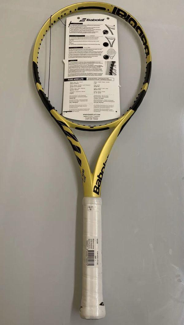"Babolat Pure Aero Lite Tennis Racquet, 4 1/4"", free stringing, 2019 model"