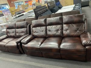 New Leather sofa & love seat recliner for Sale in Glenarden, MD