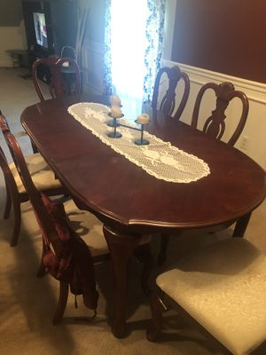 Oak wooden dining room extended table with chairs for Sale for sale  Levittown, PA