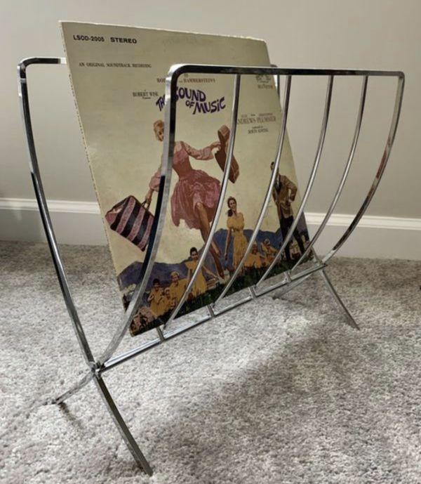 Vintage Mid Century Modern MCM Chrome Folding Record Magazine Rack