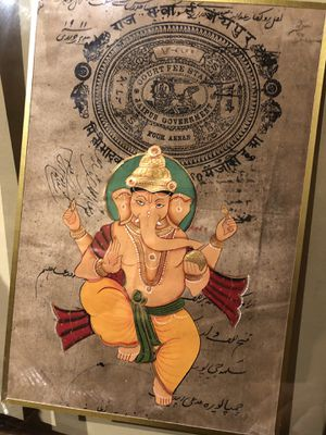 Ganesha painting on 1911 Indian receipt for Sale in Wayland, MA