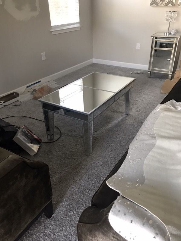 Brand new in box mirrored coffee table