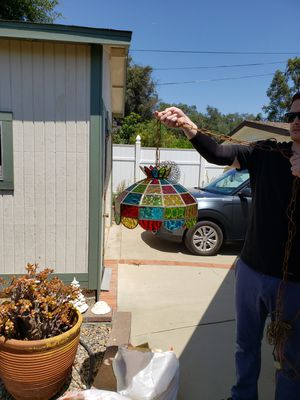 1970s Antique Stained Glass Sway Light for Sale in San Marcos, CA
