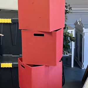 Six Red Canvas Storage Boxes for Sale in Lucerne Valley, CA