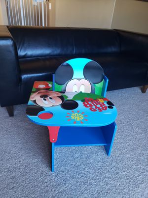 Mickey Mouse kids desk it comes with the storage bin. The only thing missing is the cup holder other than that it's in great condition. for Sale in West Jordan, UT