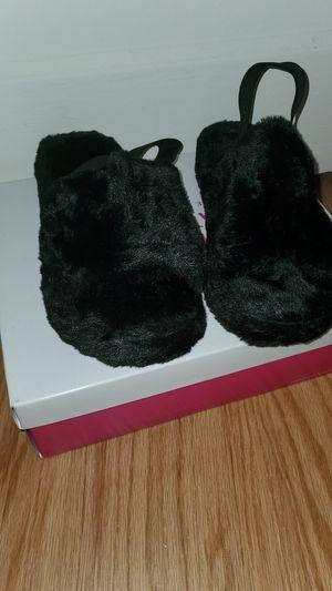 Black on Black Furry Sandals Out Toe for Sale in Norfolk, VA