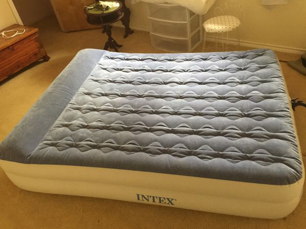 Intex Queen air mattress - double tall with velour top.