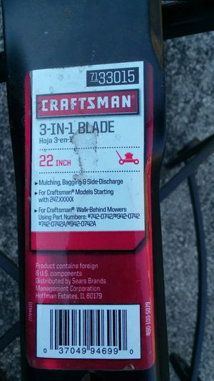 "Craftsman 3 in one 22"" lawnmower blade for Sale in Crete, IL"