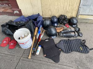 Baseball bat,ball,catcher chest,glove and more for Sale in Bridgeport, CT