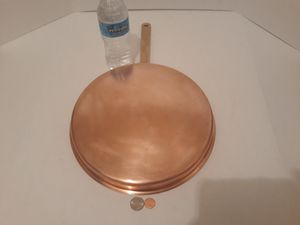 "Vintage Metal Copper and Brass Crepe Pan, Made in Switzerland, 20"" Long and 12"" Pan Size, Heavy Duty Quality, Kitchen Decor, Hanging Display for Sale in Lakeside, CA"