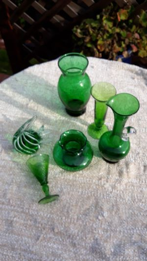Six Vintage and Collectible Green Blown Glass for Sale in Sumner, WA