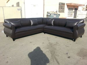NEW 9X9FT BROWN LEATHER SECTIONAL COUCHES for Sale in Ontario, CA