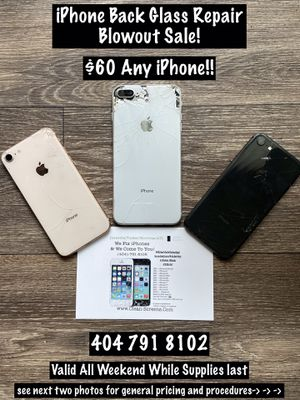iPhone 8 or XS Max with broken back glass ONLY - needs to be repaired - for Sale in Doraville, GA