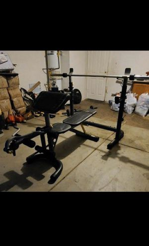 Heavy duty squat rack + adjustable bench + Olympic bar and weights for Sale in San Leandro, CA