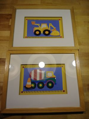 2 Wood Framed Boy's Room Construction Pictures Kids Toy for Sale in Portage, IN