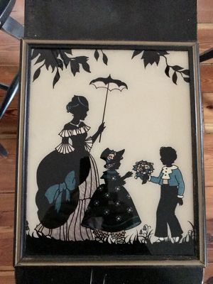 Antique Silhouette Authentic original wall decor art hand painted glass for Sale in Spartanburg, SC