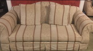 Beautiful damask printed beige/ivory/brown large couch great cond. for Sale in Butler, PA