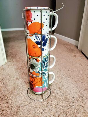 NWOT set of 4 stacking floral mugs with stand for Sale in Decatur, GA