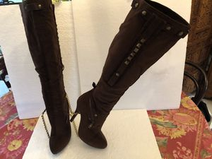 Women's knee boots dark bronze studded embellishments brown suede Size 6.5 Brand NYLA for Sale in Hialeah, FL