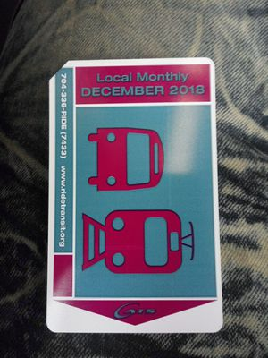 Monthly bus pass for December for Sale in Charlotte, NC