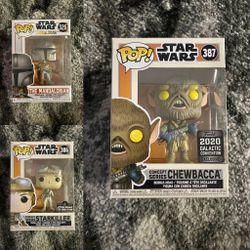 Funko Pop - LOT OF 3 - Chewbacca, The Mandalorian & Starkiller! Star Wars Celebration for Sale in Beverly Hills,  CA