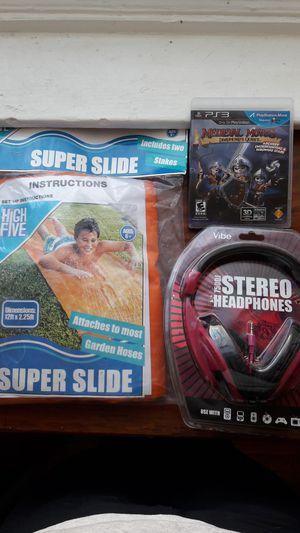 Water slide, stereo headphones, PS3 game for Sale in Philadelphia, PA