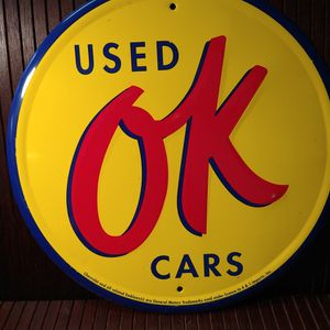 Ok Used Cars Metal Advertisement Sign for Sale in Portland, OR