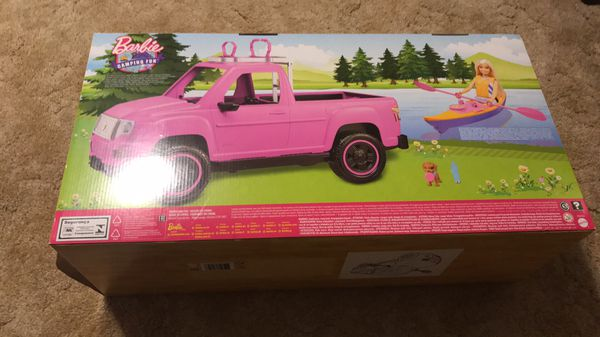 Barbie Camping Fun Pink Truck w/Kayak and Doll