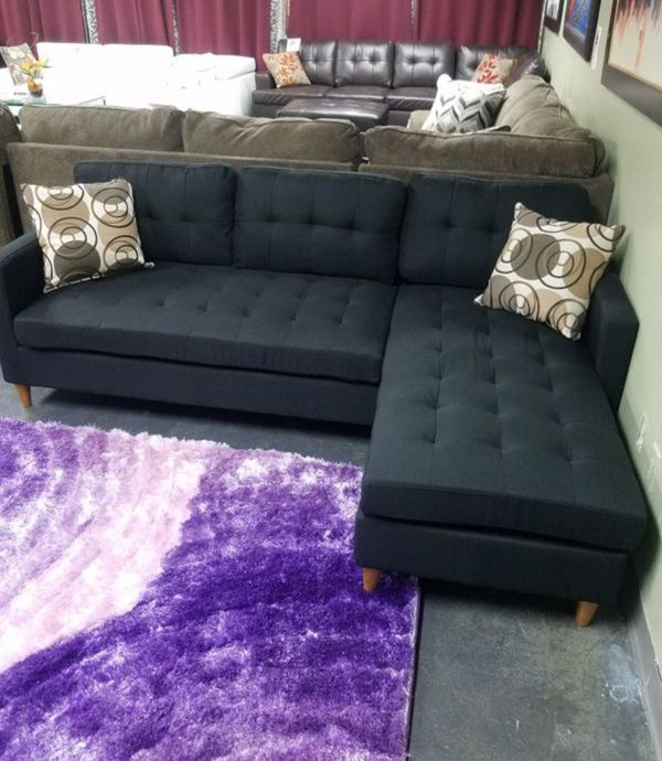 Brand New Black Linen Sectional Sofa Couch +2 Accent Pillows
