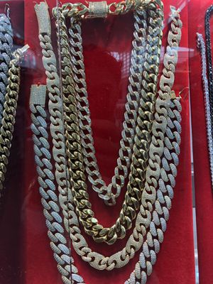 CUBAN LINKS CHAINS SILVER GOLD EARRINGS RINGS. ALL 75% off today ONLY !! Closing sale for Sale in Sugar Land, TX