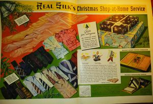 #Christmas Real Silk centerfold 2 page color ad 1930s vintage art collectible advertising for Sale in Houston, TX
