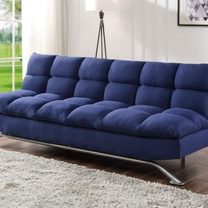 BLUE FABRIC FUTON SOFA ADJUSTABLE BED - SILLON CAMA - COUCH for Sale in Downey, CA