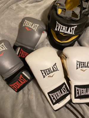 Everlast boxing gloves + headgear for Sale in FL, US