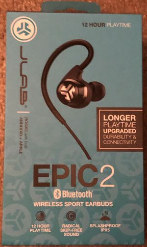 New Jlab epic 2 bluetooth wireless sport earbuds waterproof ipx5 12 hr playback for Sale in Indianapolis, IN