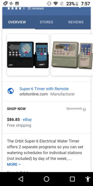 Orbit 57096 6 station programmable sprinkler timer with remote for Sale in Walnut, CA