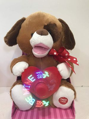 Stuffed Plush Singing Animal Holding Heart with LED Fan Message (Dog Singing I Want You Back Be Mine LED Message) and moves mouth BRAND NEW! for Sale in Hollywood, FL