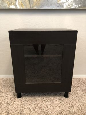 Modern Black Side table with glass cabinet door for Sale in Gilbert, AZ