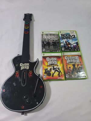 Xbox 360 Guitar Hero Gibson Les Paul Controller Red Octane w/4 games for Sale in Winter Springs, FL