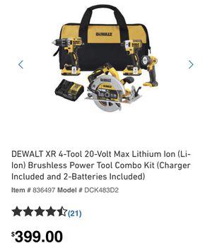 Dewalt XR 4 tool 20 volt brushless power tool combo kit for Sale in Orlando, FL