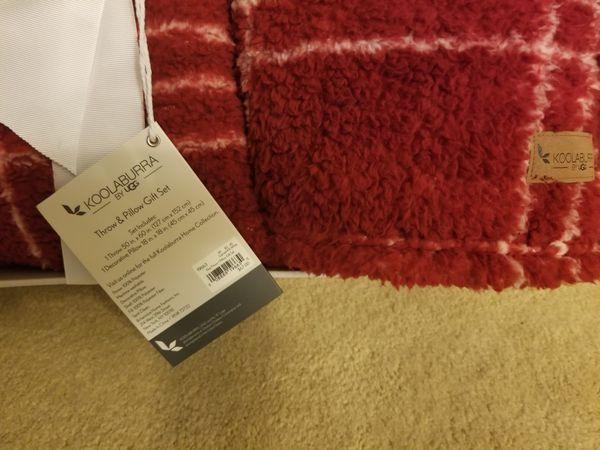 UGG Koolaburra Red Plush Throw & Pillow Gift SetBrand new in gift box. Elsa blanket and pillow gift set in a plush fleece.