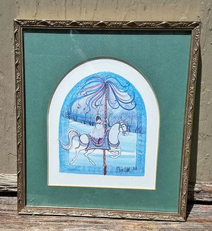 Used, P buckley moss signed print of maid Marion carousel horse primitive Americana folk art artist ! for Sale for sale  Saginaw, MI