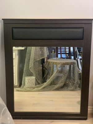 Large Wall Mirror Brown Wood for Sale in Long Beach, CA