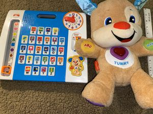 Fisher price smart stages stuffed bear puppy teaching toys 🧸 COMBO infant toddler for Sale in San Antonio, TX