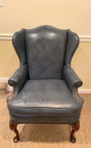 Vintage Old Hickery Tannery Blue Leather Wingback Chair for Sale in Alexandria, VA