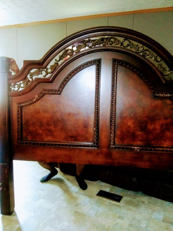 Wood King size bed frame and dresser