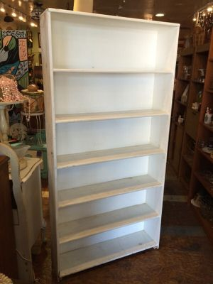 "White shabby chic tall bookcase $75 35x9x72"" for Sale in San Diego, CA"