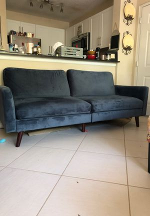 Blue velvet couch futon for Sale in Clearwater, FL